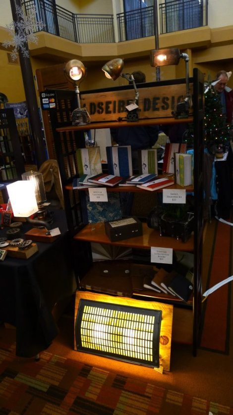 Before the Early Bird shoppers swarmed.  Books by The Vespiary-Bookbinding, Conservation, and Ceramics.