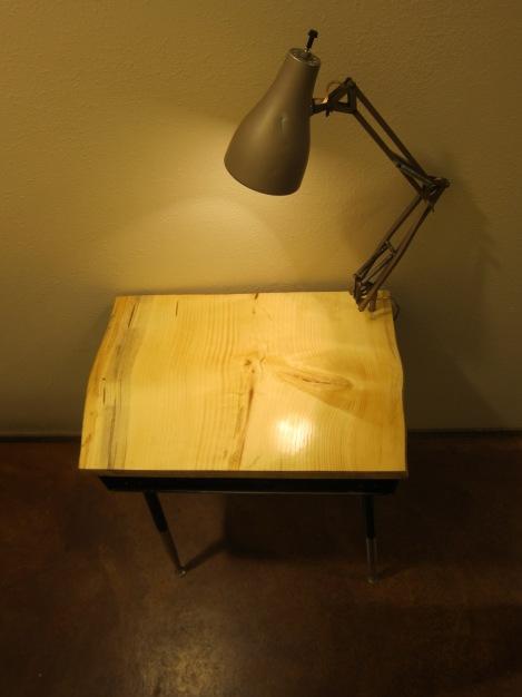 Repurposed school desk with Spring Arm lamp.